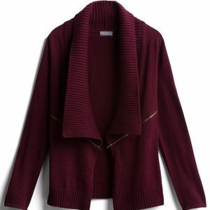 Ribbed zipper cardigan, maroon in color